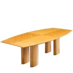 Italian Conference Table with Boat Shaped Top