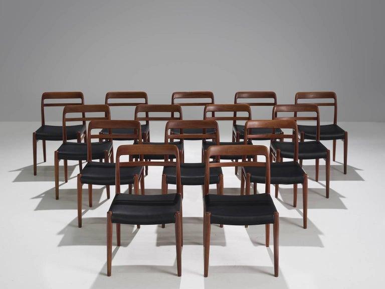 Alf Aarseth by Gustav Bahus & Eft, set of 14 chairs model 145, in teak and black leatherette, Norway, 1960s.  This set of dining chairs is designed by Alf Aarseth for the Norwegian manufacturer Gustav Bahus & Eft.This large set of dining chairs