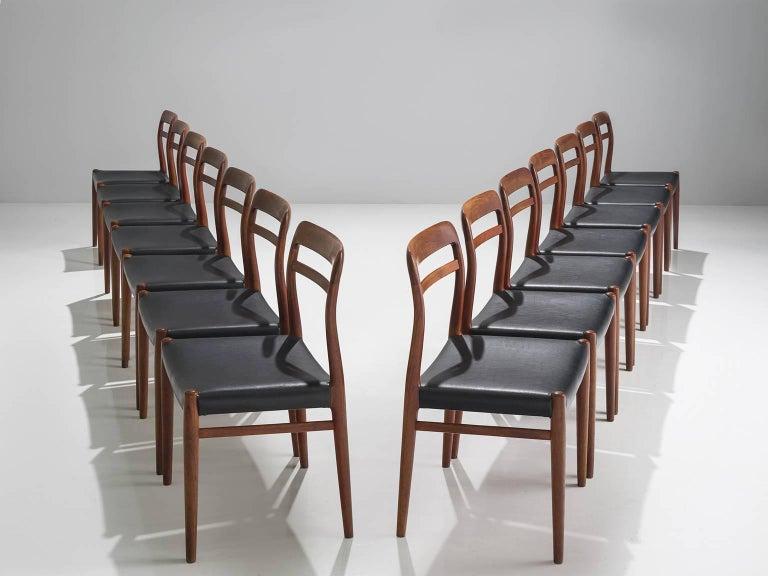 Scandinavian Modern Large Set of 14 Norwegian Teak Dining Chairs by Alf Aarseth For Sale