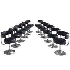Set of Twelve Black Swedish Barstools