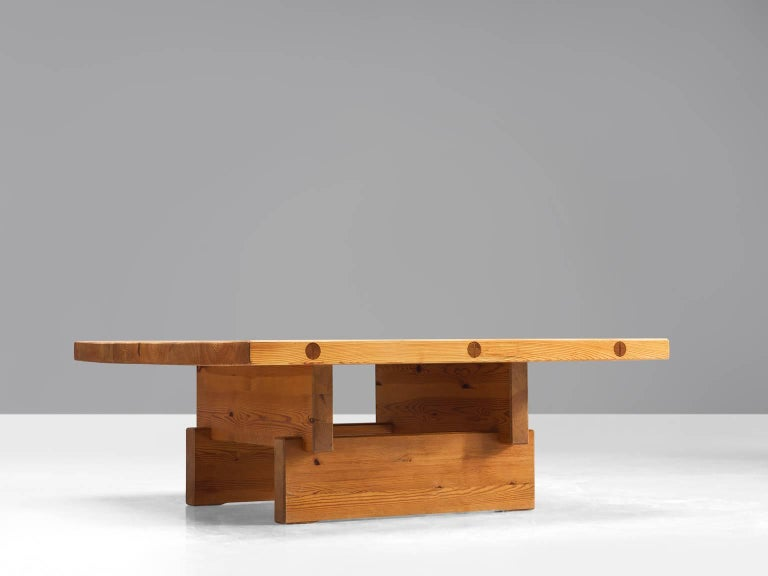 Scandinavian Modern Architectural Coffee Table in Pine For Sale