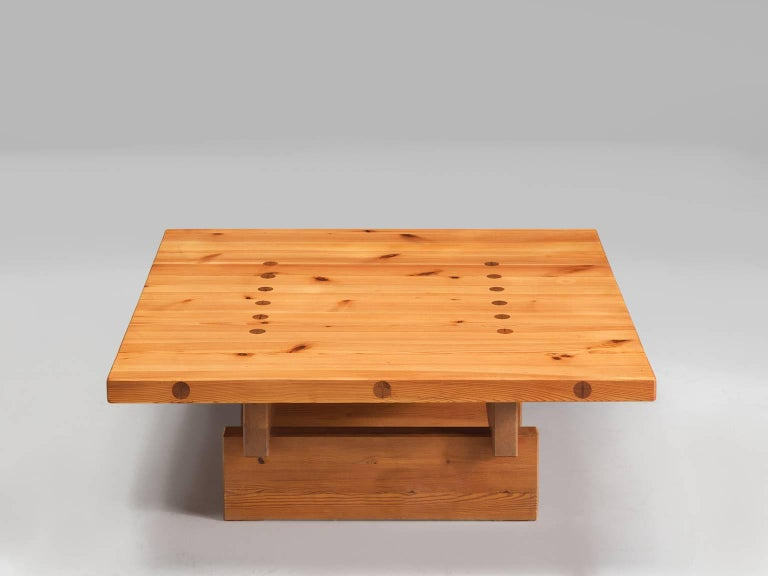 Danish Architectural Coffee Table in Pine For Sale