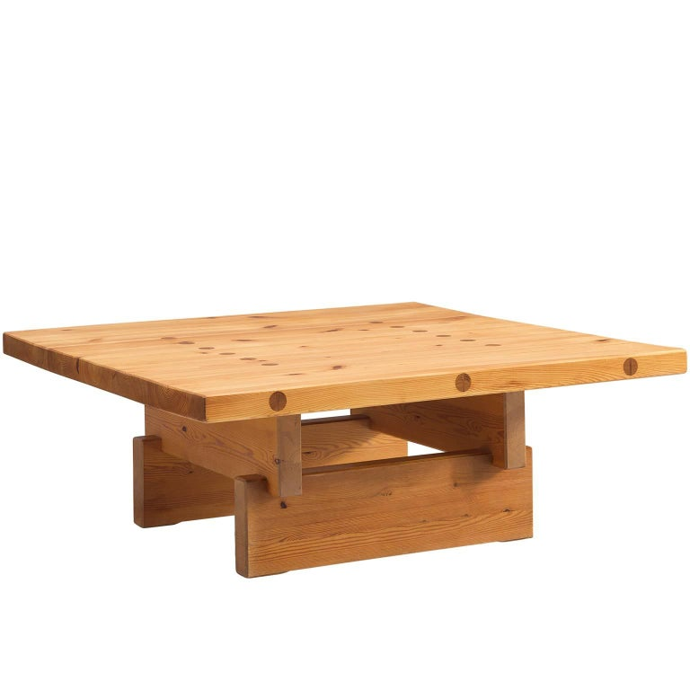 Architectural Coffee Table in Pine For Sale