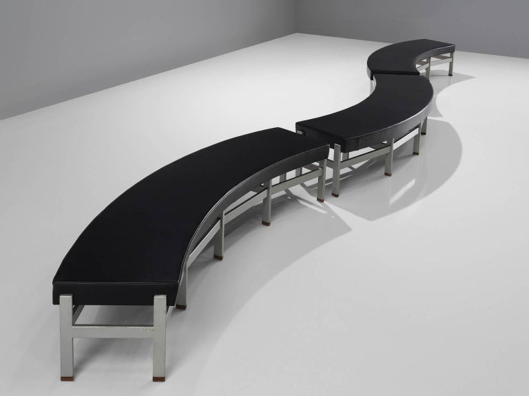 Set Of Three Curved Black Leatherette Benches For Sale At