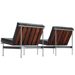 Kho Liang Le Easy Chairs in Rosewood and Black Leatherette