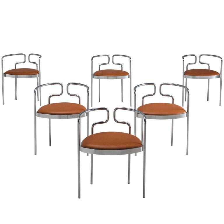 Henning Larsen For Fritz Hansen Tubular Leather Chairs For