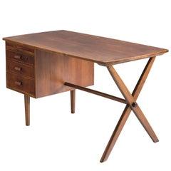 Danish Walnut 'X' Legged Writing Table