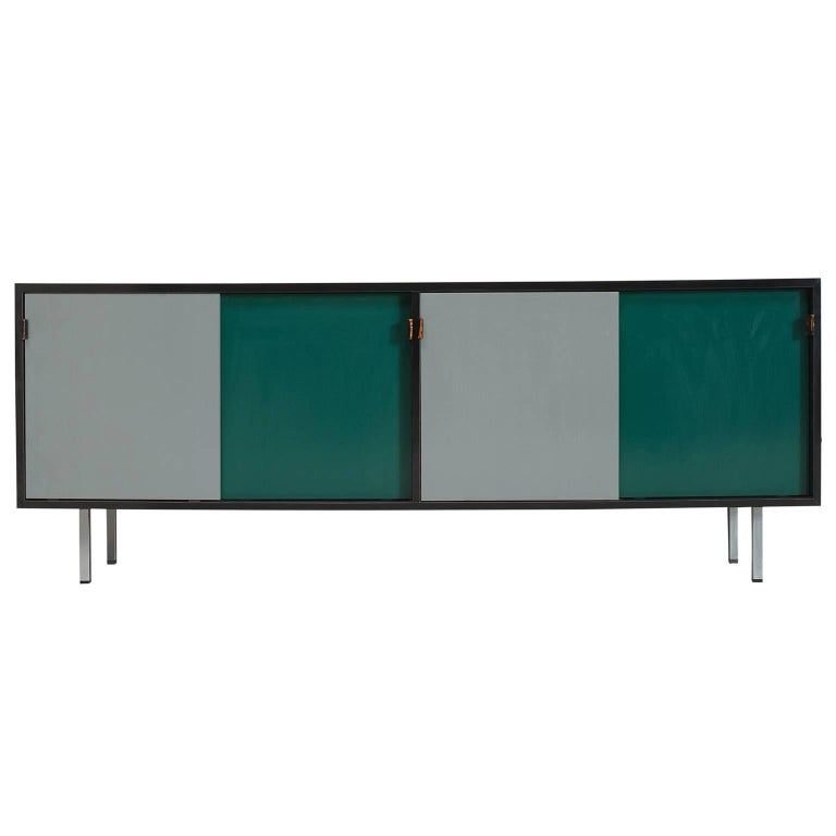 Florence Knoll Credenza in in Grey and Green with Leather Handles