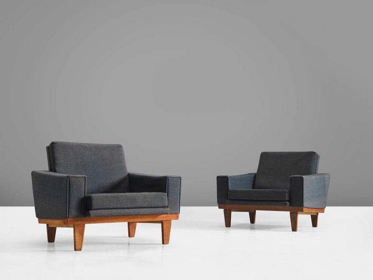 Scandinavian Modern Danish Armchairs with Teak Frame For Sale