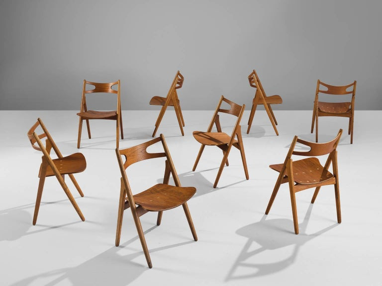 Scandinavian Modern Hans J. Wegner Restored Set of Eight Matching Sawbuck Chairs For Sale