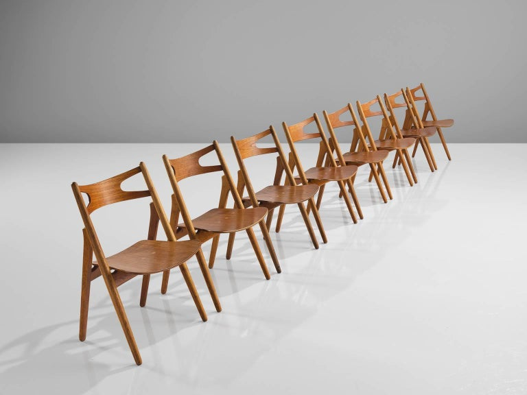 Danish Hans J. Wegner Restored Set of Eight Matching Sawbuck Chairs For Sale