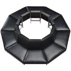 Circular Black Leatherette and Steel Sofa