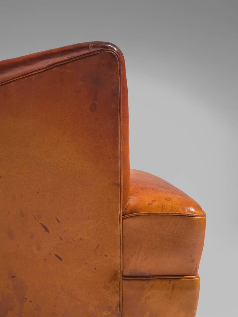 Frits Henningsen Cognac Wingback Easy Chair For Sale 2