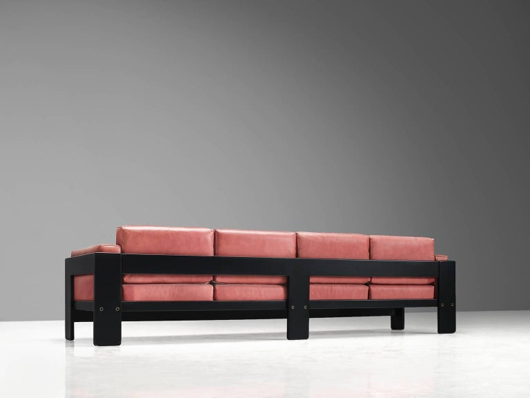 Tobia Scarpa for Knoll 'Bastiano' Leather Four-Seat Sofa In Good Condition For Sale In Waalwijk, NL
