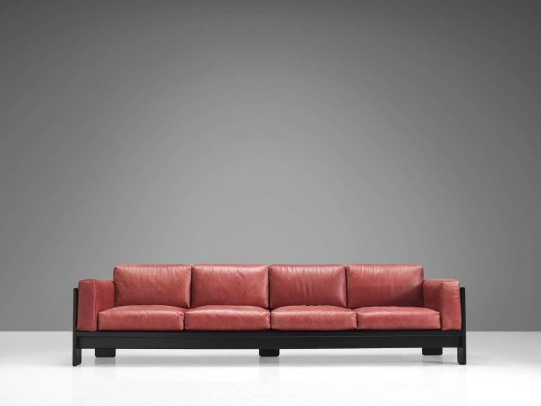 Italian Tobia Scarpa for Knoll 'Bastiano' Leather Four-Seat Sofa For Sale