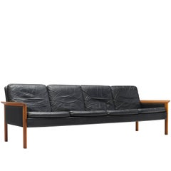Hans Olsen Four-Seat Sofa in Original Leather