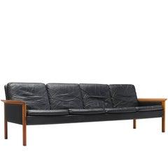 Hans Olsen Four-Seat Sofa in Original Leather