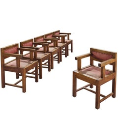 Six French Art Deco Dining Chairs in Mahogany