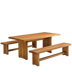 Pierre Chapo Elm Table with Benches
