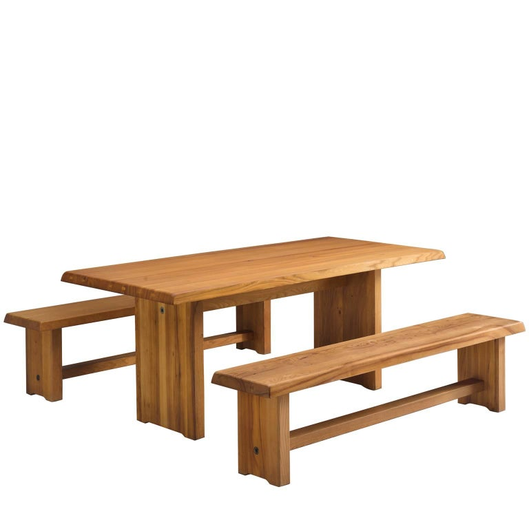 Pierre Chapo Elm Table with Benches For Sale