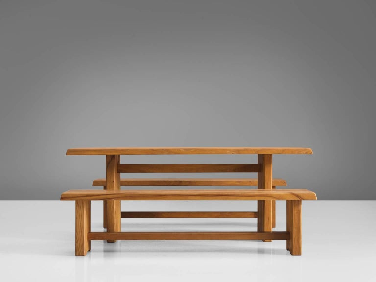 French Pierre Chapo Elm Table with Benches For Sale