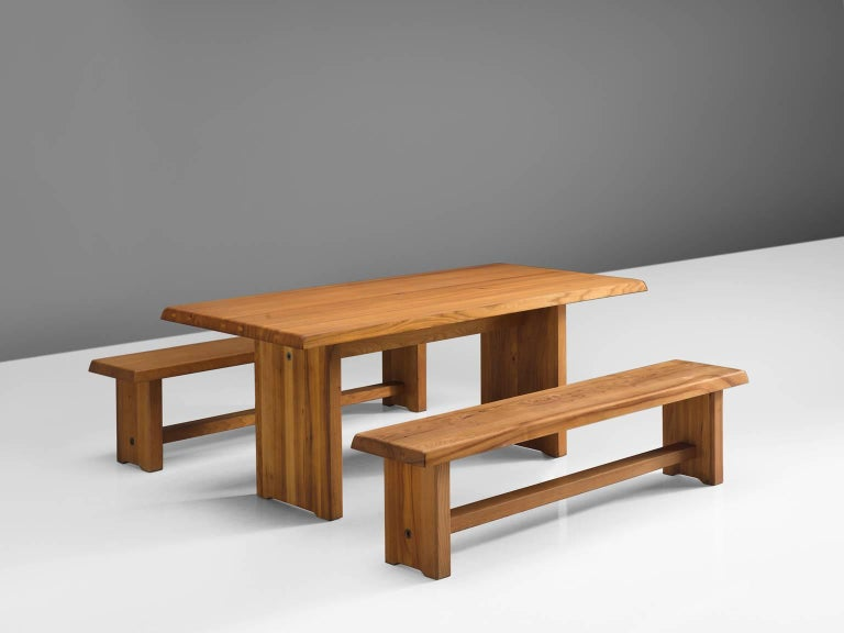 Pierre Chapo, dining table model T14D and benches model S14D, solid elmwood, by France, 1960s.   This 183 cm dining table and two benches are designed by French designer Pierre Chapo. The rectangular tabletop with sloping edges, rests on a