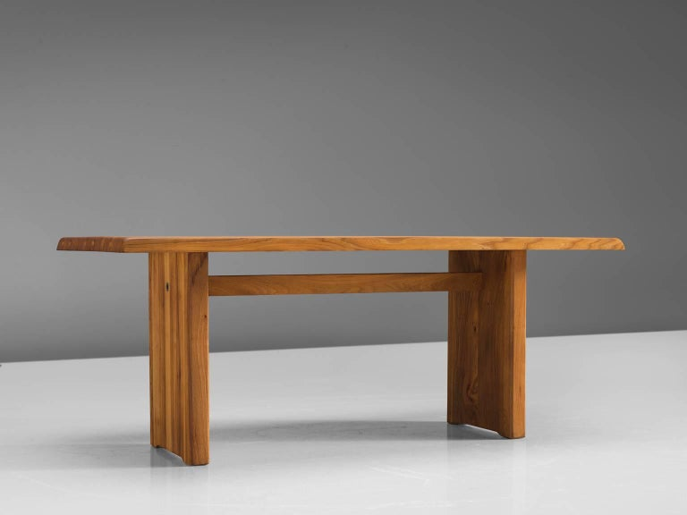 Mid-20th Century Pierre Chapo Elm Table with Benches For Sale