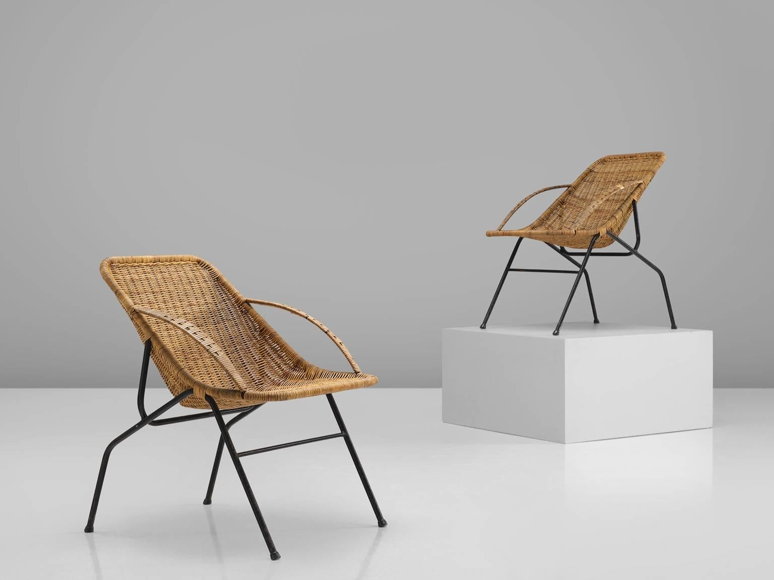 Armchairs, Rattan, Cane And Black Coated Metal, France, 1950s. This Pair