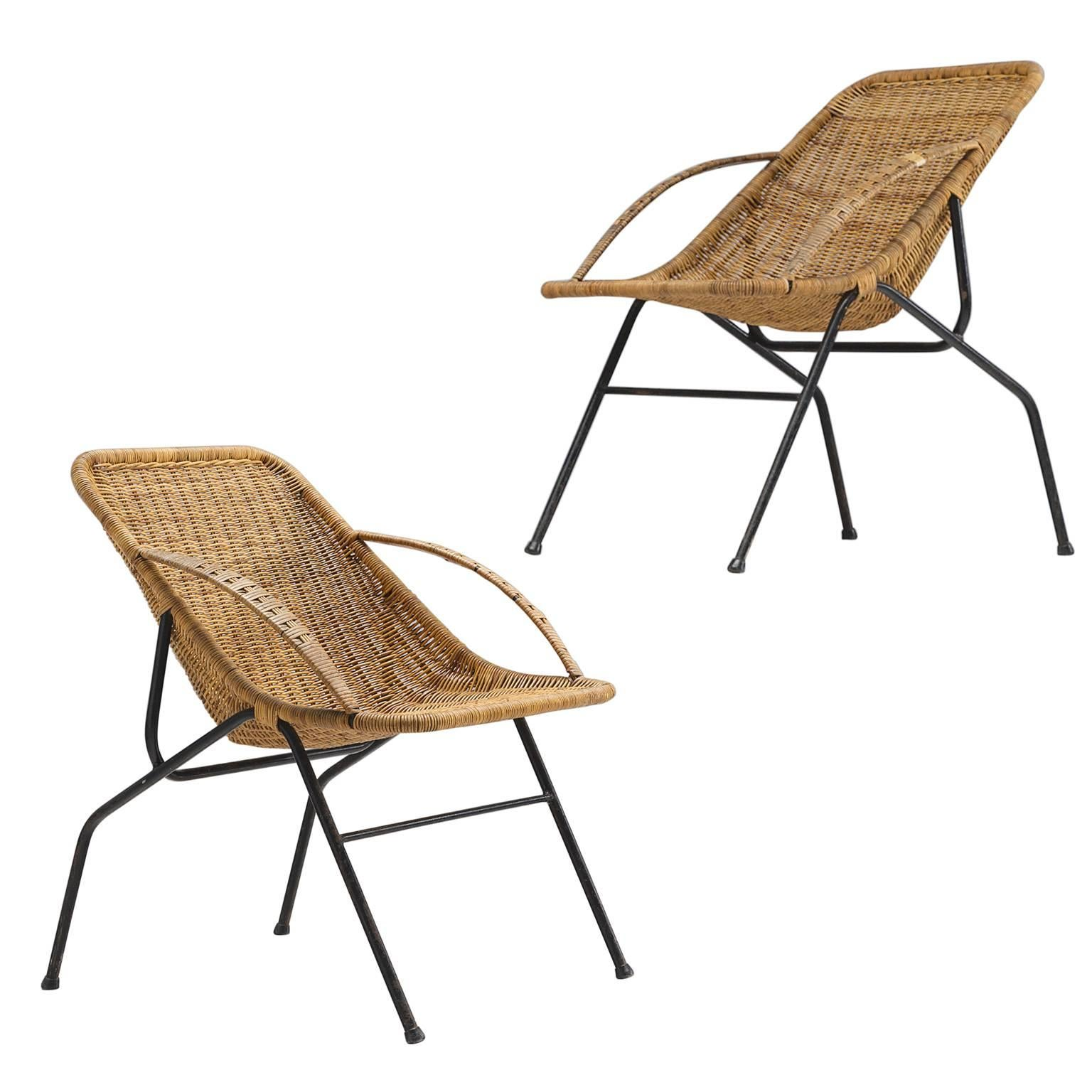 French Woven Cane Chairs, 1950s