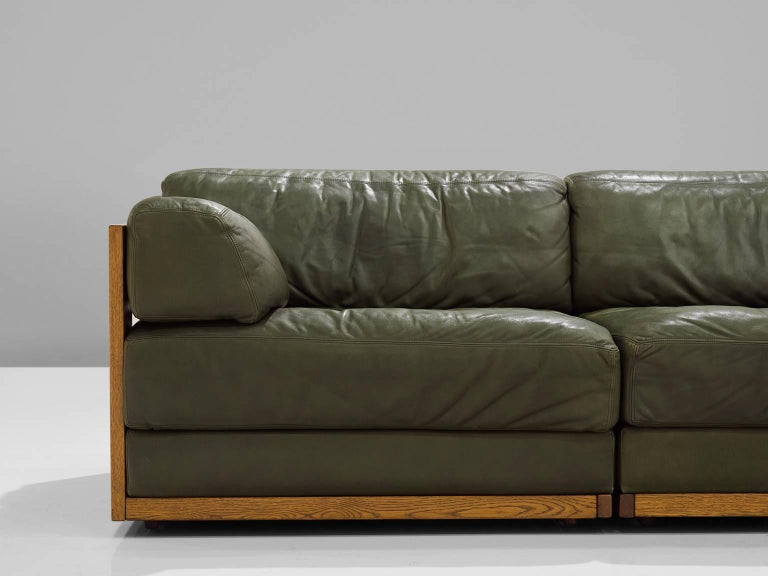 Large Sectional Deep Green Leather Sofa