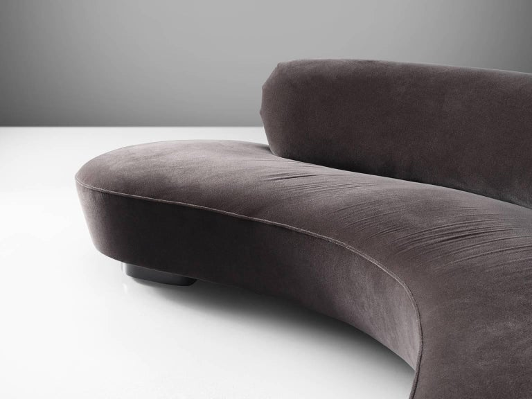 Vladimir Kagan Serpentine Sofa In Grey Velvet At 1stdibs