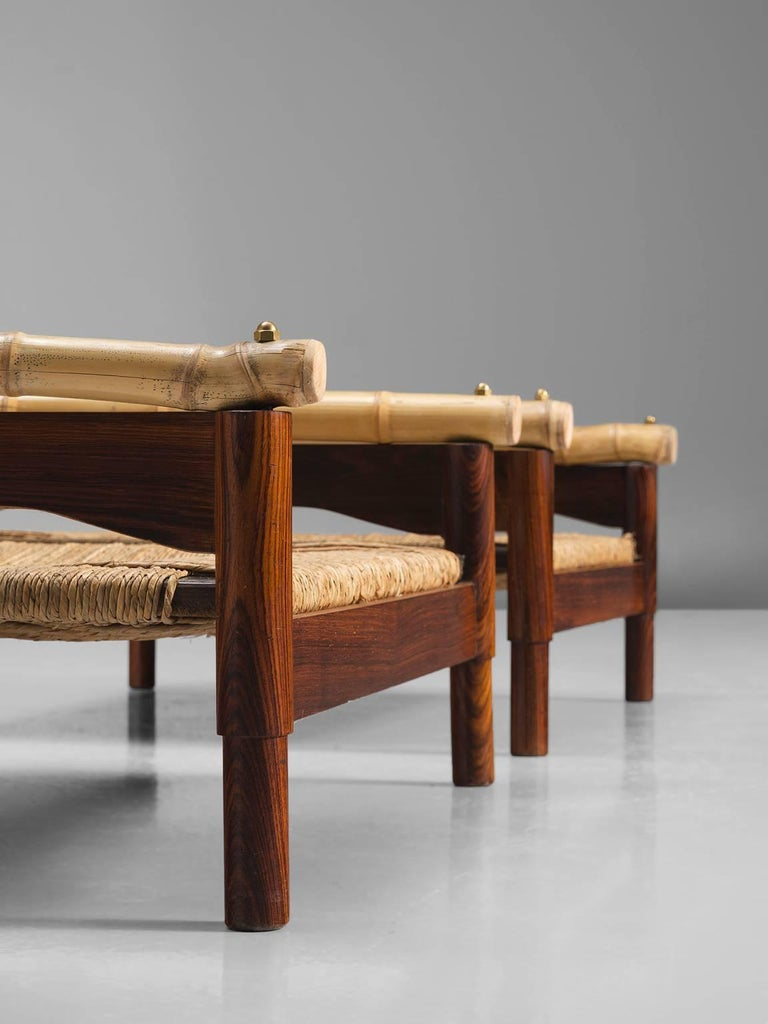 Mid-20th Century Pair of Italian Stools with Rosewood and Cane For Sale