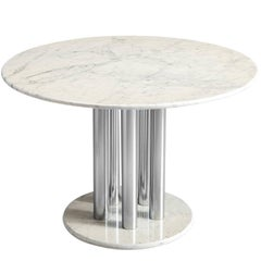 Postmodern Marble and Metal Italian Centre Table