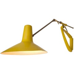 Extendable Italian Lamp in Yellow Metal and Brass