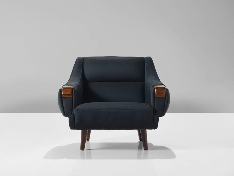 Lowback Danish Deep Blue Easy Chair With Rosewood For Sale