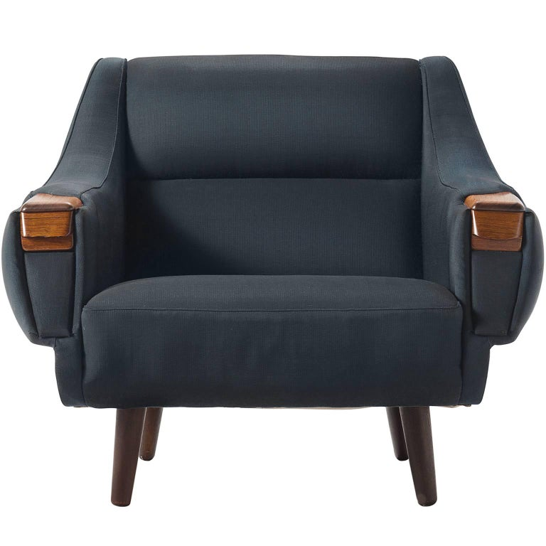 Lowback Danish Deep Blue Easy Chair with Rosewood