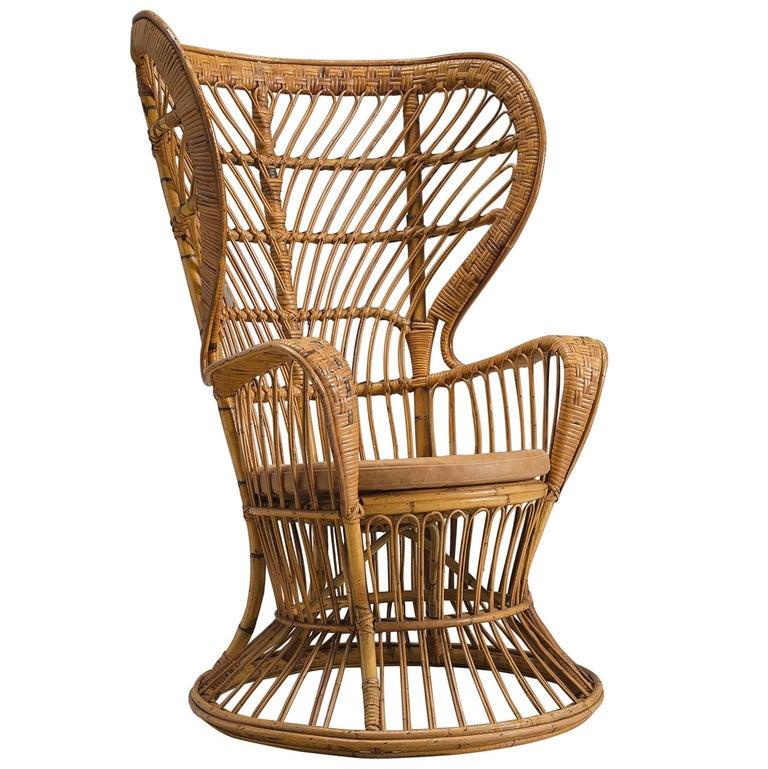Lio Carminati Wingback Wicker Chair for the 'Conte Biancomo'