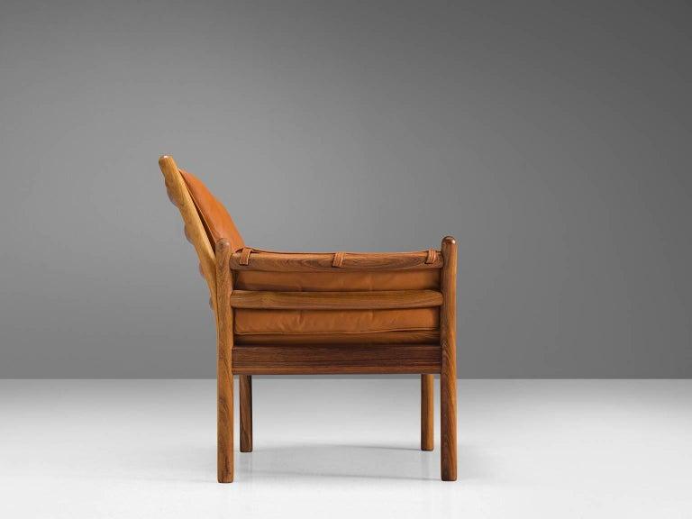 Illum Wikkelsø 'Genius' Chair in Rosewood and Cognac Leather In Excellent Condition For Sale In Waalwijk, NL