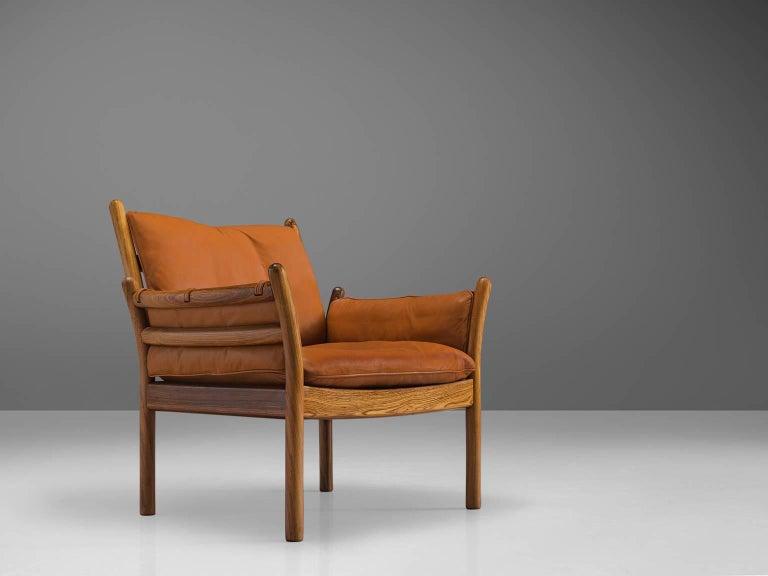 Danish Illum Wikkelsø 'Genius' Chair in Rosewood and Cognac Leather For Sale