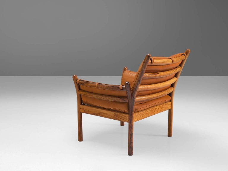 Scandinavian Modern Illum Wikkelsø 'Genius' Chair in Rosewood and Cognac Leather For Sale