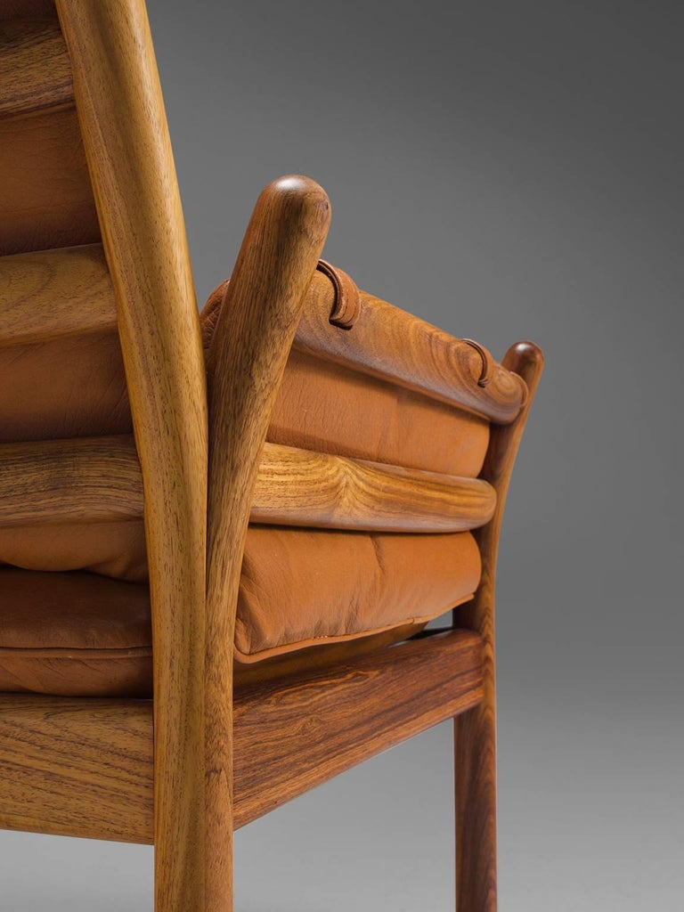 Illum Wikkelsø 'Genius' Chair in Rosewood and Cognac Leather For Sale 2