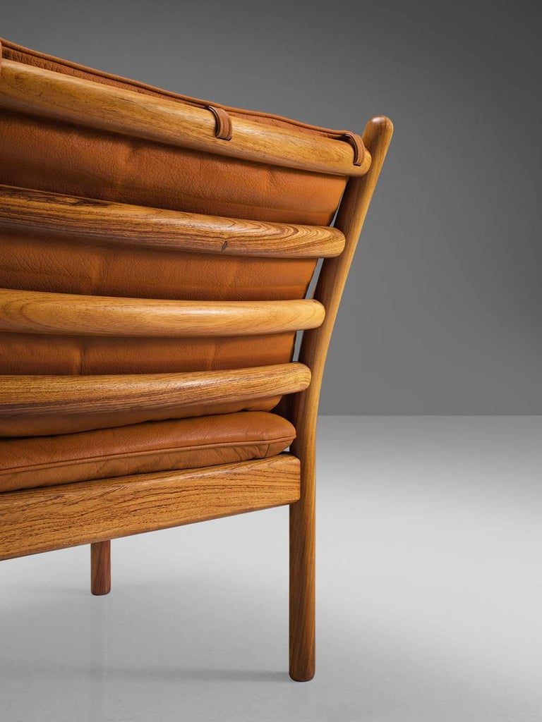Mid-20th Century Illum Wikkelsø 'Genius' Chair in Rosewood and Cognac Leather For Sale