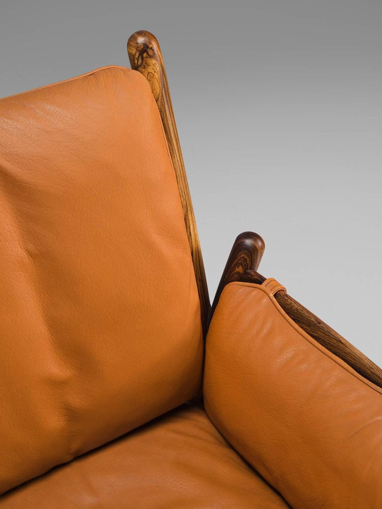 Illum Wikkelsø 'Genius' Chair in Rosewood and Cognac Leather For Sale 1