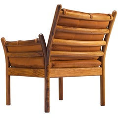 Illum Wikkelsø 'Genius' Chair in Rosewood and Cognac Leather