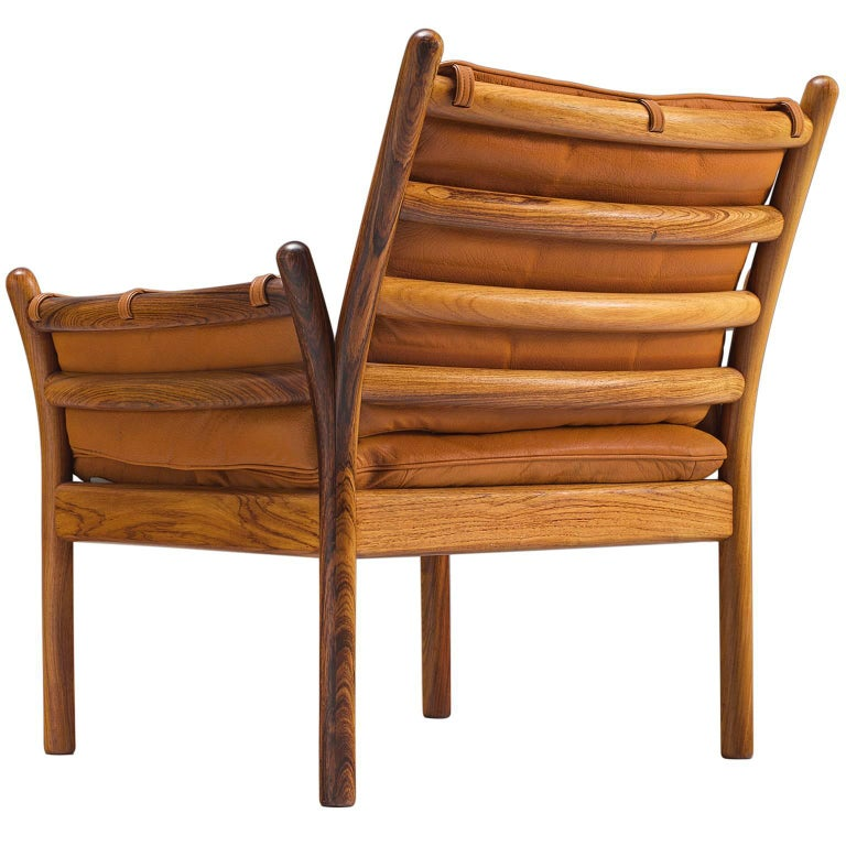 Illum Wikkelsø 'Genius' Chair in Rosewood and Cognac Leather For Sale