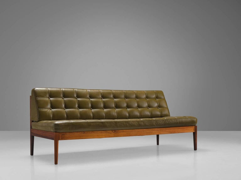 Finn Juhl 'Diplomat' Sofa In Olive Green Leather And Rosewood For Sale At 1stdibs