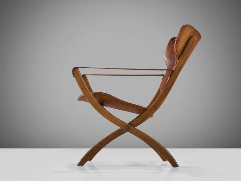 Danish Poul Hundevad 'Egyptian' Chair in Cognac Leather For Sale