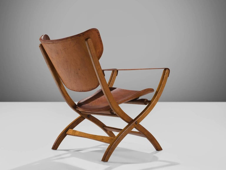 Scandinavian Modern Poul Hundevad 'Egyptian' Chair in Cognac Leather For Sale