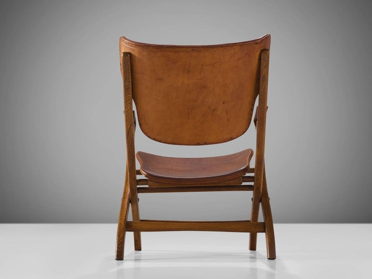 Poul Hundevad 'Egyptian' Chair in Cognac Leather In Good Condition For Sale In Waalwijk, NL