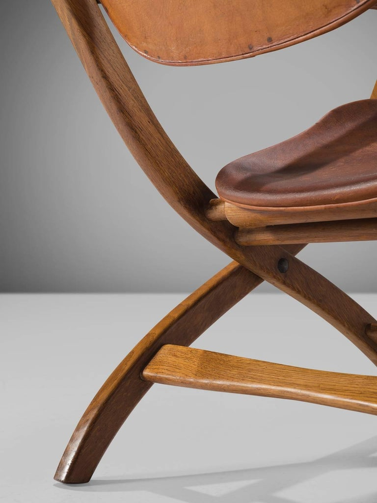 Poul Hundevad 'Egyptian' Chair in Cognac Leather For Sale 2